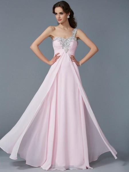 Trapèze/Princesse Col asymétrique Appliqués Sans Manches Perles Longue Mousseline Robes