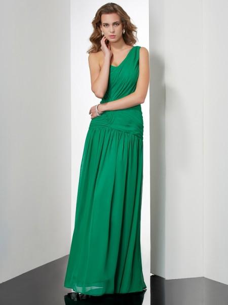 Trapèze/Princesse Col asymétrique Sans Manches Plis Longue Mousseline Robes