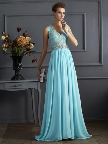 Trapèze/Princesse Avec bretelles Sans Manches Perles Dentelle Longue Mousseline Robes