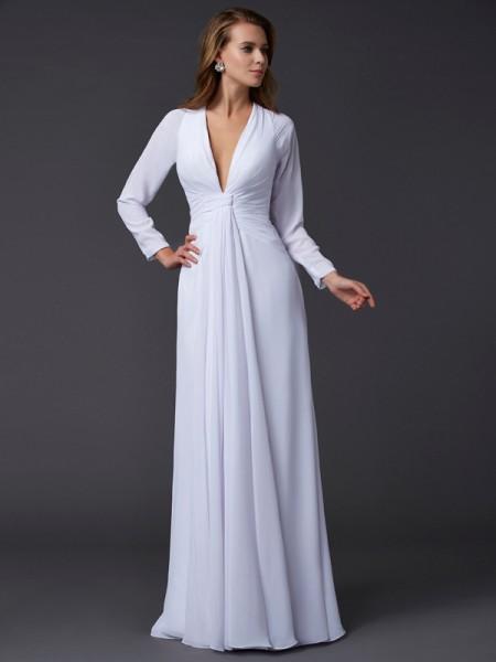 Fourreau Col en V Manches Longueues Froncée Longue Mousseline Robes
