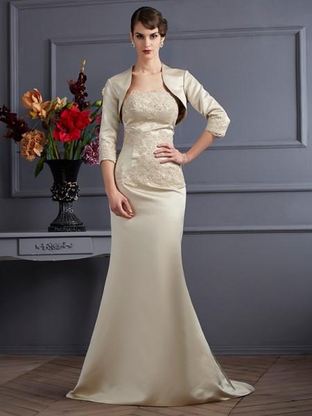 Sirène/Trompette Sans bretelles Sans Manches Appliqués Longue Satin Robes des mères des mariés