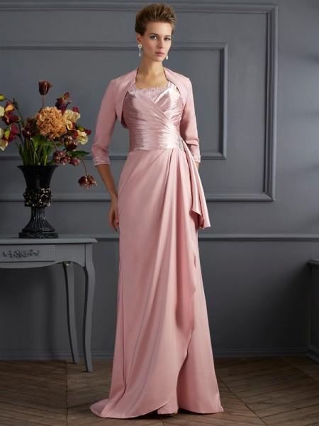 Fourreau Avec bretelles Sans Manches Longue Satin stretch Robes des mères des mariés