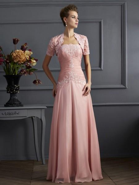 Trapèze/Princesse Col en coeur Sans Manches Appliqués Longue Mousseline Robes des mères des mariés