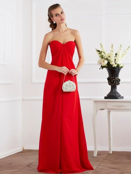 Trapèze/Princesse Col en coeur Sans Manches Plis Longue Mousseline Robes