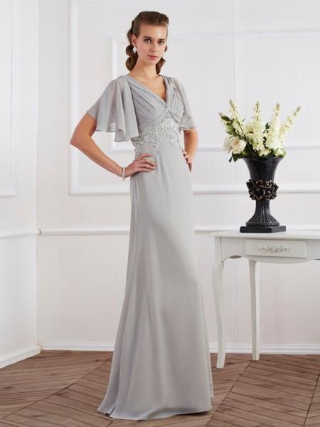 Fourreau Col en V Manches courtes Perles Longue Mousseline Robes