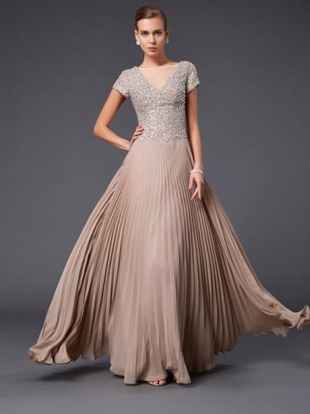 Trapèze/Princesse Col en V Manches courtes Perles Longue Mousseline Robes des mères des mariés
