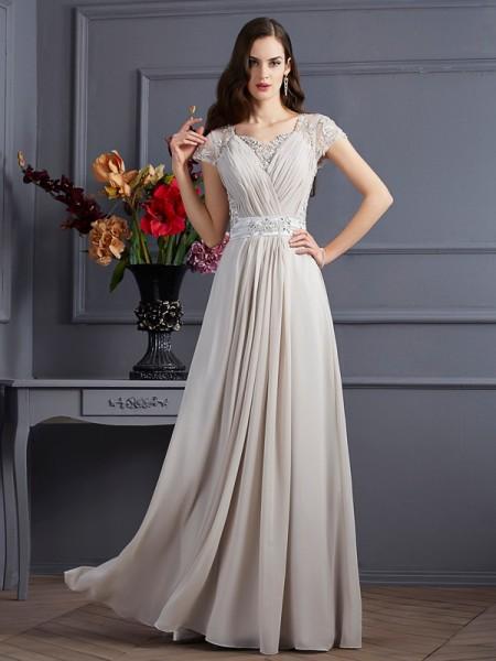 Trapèze/Princesse Col en coeur Manches courtes Perles Longue Mousseline Robes