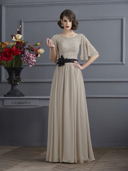Trapèze/Princesse Col montant Manches ½ Perles Longue Mousseline Robes