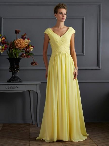 Trapèze/Princesse Col en V Manches courtes Plis Longue Mousseline Robes