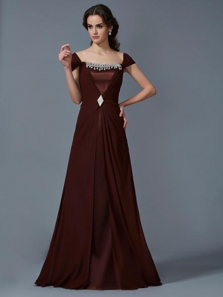 Trapèze/Princesse Sans bretelles Manches courtes Longue Mousseline Robes