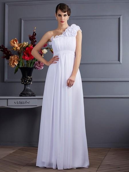 Trapèze/Princesse Col asymétrique Sans Manches Plis Appliqués Longue Mousseline Robes