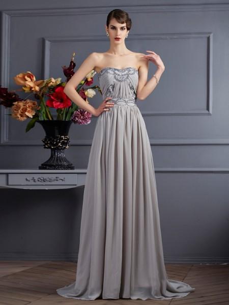 Trapèze/Princesse Col en coeur Sans Manches Perles Plis Longue Mousseline Robes