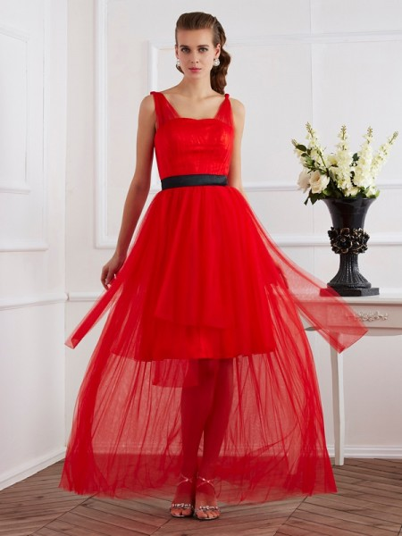 Trapèze/Princesse Avec bretelles Sans Manches Plis Longue Satin stretch Robes