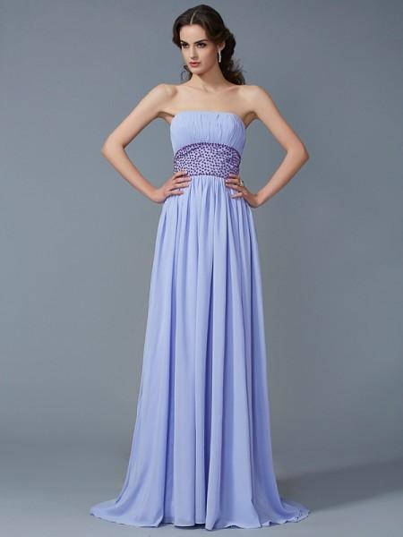 Trapèze/Princesse Sans bretelles Sans Manches Perles Longue Mousseline Robes