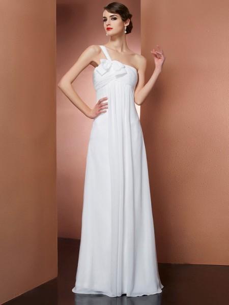 Trapèze/Princesse Col asymétrique Sans Manches Boucles Longue Mousseline Robes