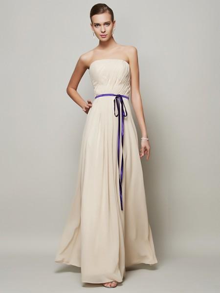 Trapèze/Princesse Sans bretelles Sans Manches Rubans/Ceintures Longue Mousseline Robes