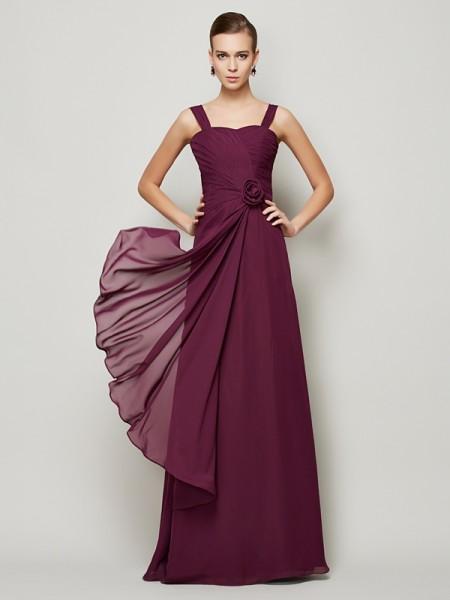 Trapèze/Princesse Avec bretelles Sans Manches Fleurs faites à la main Longue Mousseline Robes