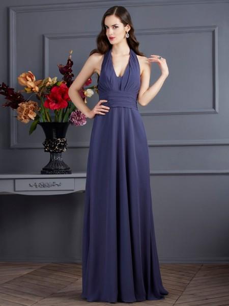 Trapèze/Princesse Licou Sans Manches Plis Longue Mousseline Robes