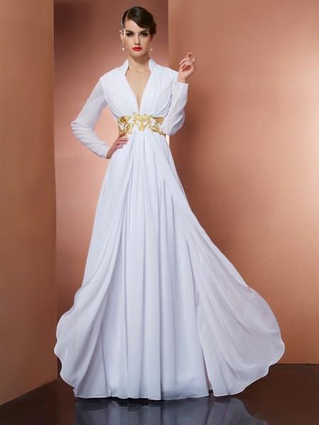 Trapèze/Princesse Col en V Manches Longueues Longue Mousseline Robes
