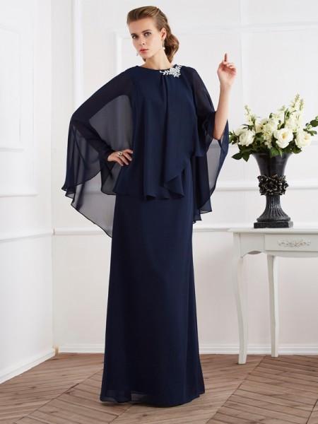 Trapèze/Princesse Col montant Sans Manches Longue Mousseline Robes des mères des mariés