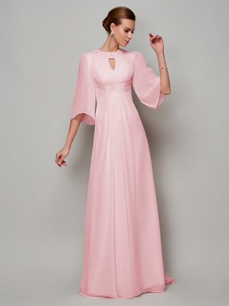 Trapèze/Princesse Col montant Manches ½ Perles Longue Mousseline Robes des mères des mariés