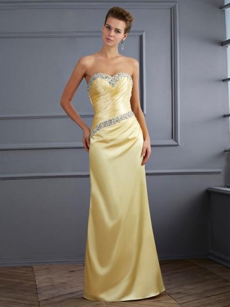 Sirène/Trompette Col en coeur Sans Manches Perles Longue Satin stretch Robes