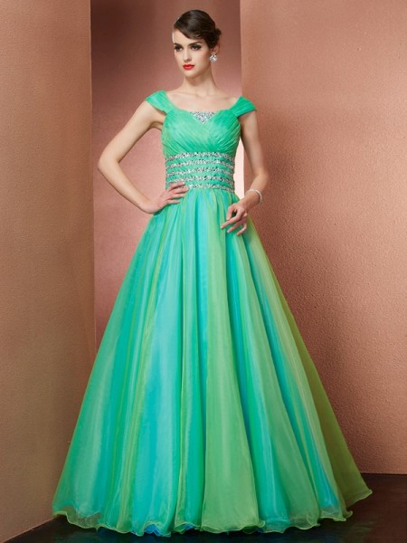 Robe de bal Off the Shoulder Sans Manches Perles Longue Satin Robes de Quinceanera