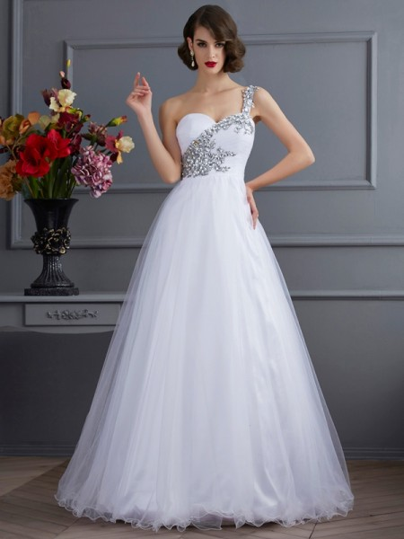 Robe de bal Col asymétrique Sans Manches Perles Longue Satin stretch Robes de Quinceanera