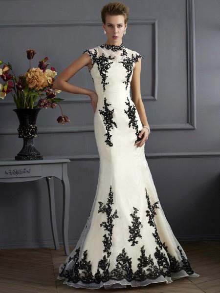Sirène/Trompette Col montant Manches courtes Appliqués Longue Organza Robes des mères des mariés