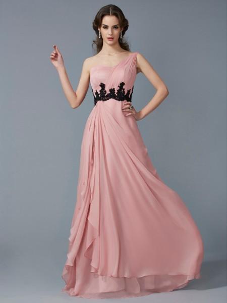 Trapèze/Princesse Col asymétrique Sans Manches Perles Longue Appliqués Mousseline Robes