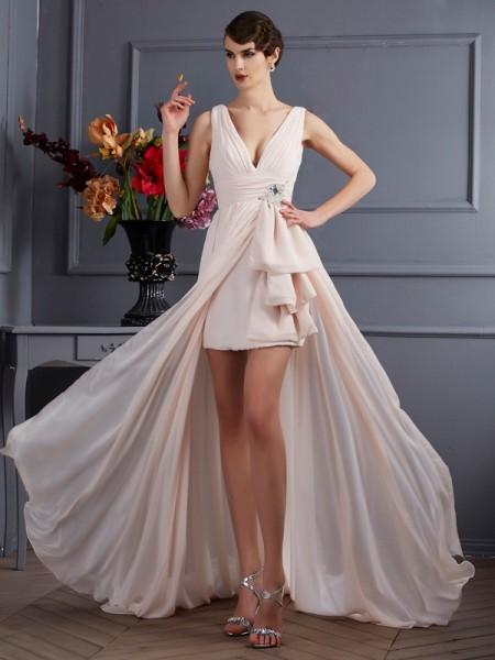 Trapèze/Princesse Avec bretelles Sans Manches Perles Longue Mousseline Robes
