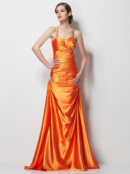 Trapèze/Princesse Bretelles spaghetti Sans Manches Perles Longue Satin stretch Robes