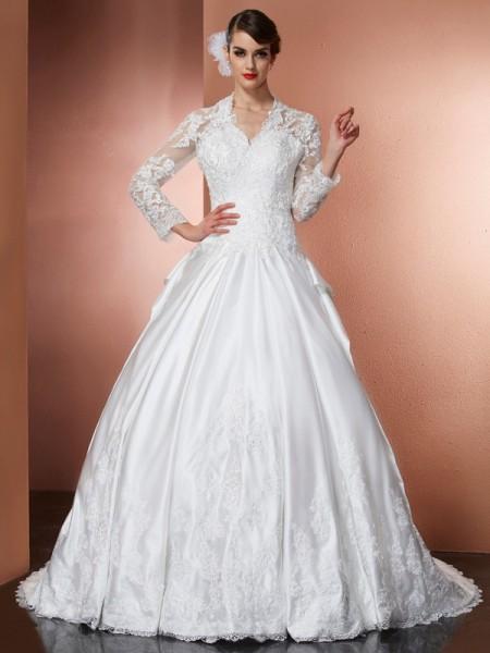 Trapèze/Princesse Col en V Manches Longueues Appliqués Longue Satin Robes de Mariée