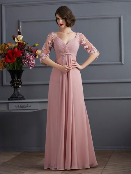 Trapèze/Princesse Col en coeur Manches ½ Perles Longue Mousseline Robes