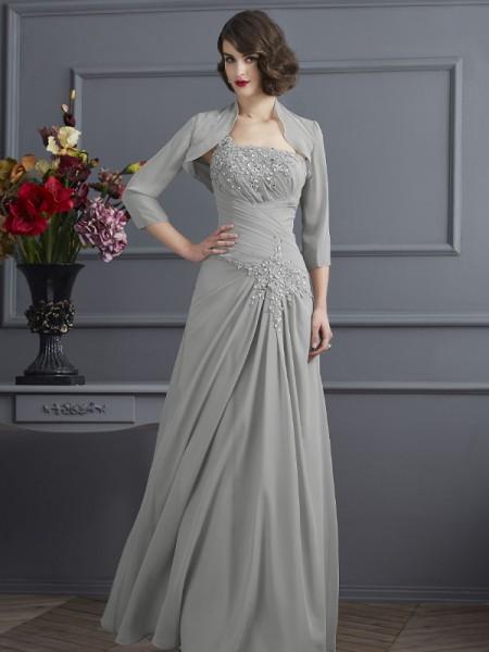 Trapèze/Princesse Col asymétrique Sans Manches Perles Longue Mousseline Robes des mères des mariés
