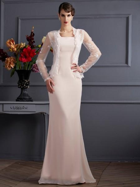 Fourreau Col carré Sans Manches Longue Mousseline Robes des mères des mariés