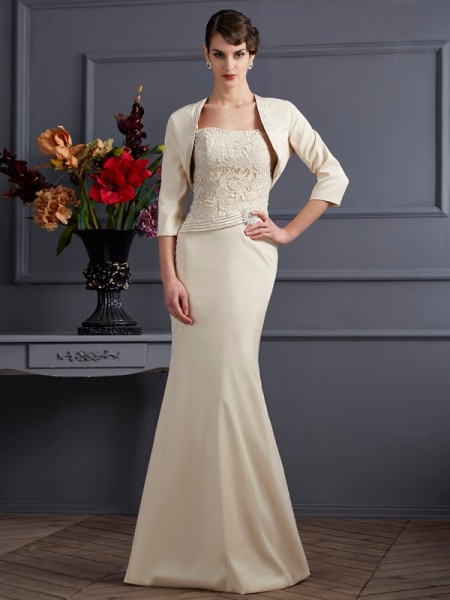 Fourreau Col carré Sans Manches Dentelle Longue Satin stretch Robes des mères des mariés