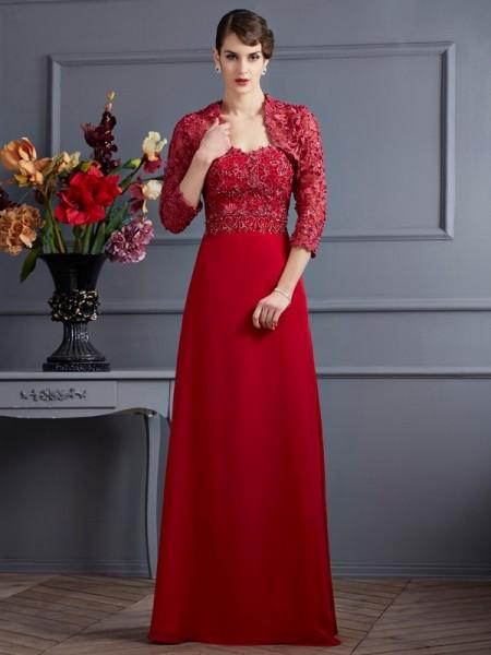 Trapèze/Princesse Col en coeur Sans Manches Perles Longue Mousseline Robes des mères des mariés