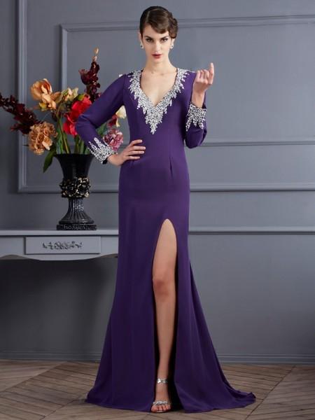 Sirène/Trompette Col en V Manches Longueues Perles Longue Mousseline Robes
