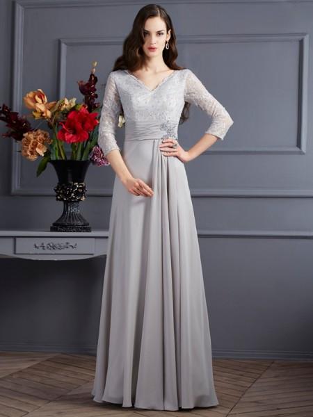 Trapèze/Princesse Col en V Manches ¾ Appliqués Longue Mousseline Robes des mères des mariés