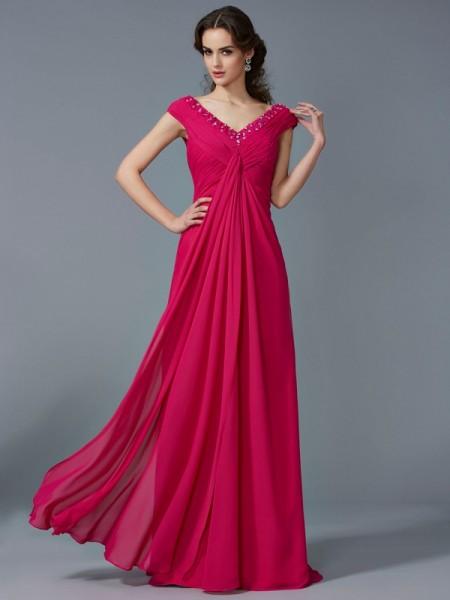 Trapèze/Princesse Perles Col en V Manches courtes Longue Mousseline Robes