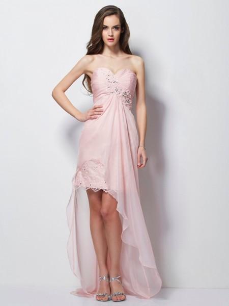 Trapèze/Princesse Col en coeur Sans Manches Perles Appliqués Traîne asymétrique Mousseline Robes