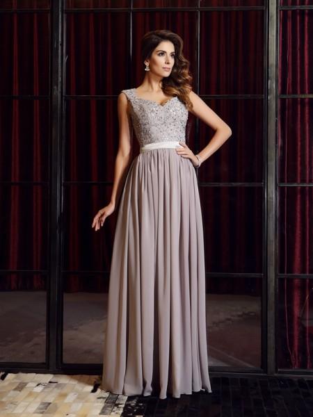 Trapèze/Princesse Avec bretelles Appliqués Sans Manches Longue Mousseline Robes