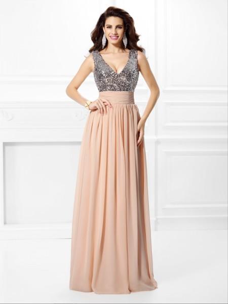 Trapèze/Princesse Col en V Paillettes Sans Manches Longue Mousseline Robes