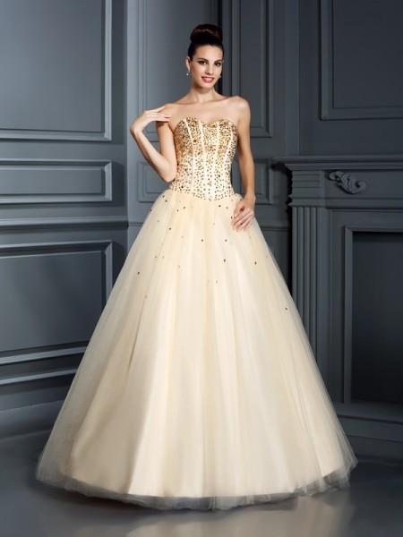 Robe de bal Col en coeur Perles Sans Manches Longue Satin Robes de Quinceanera