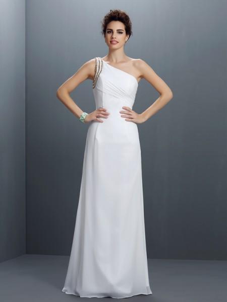 Fourreau Col asymétrique Perles Sans Manches Longue Mousseline Robes