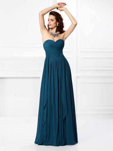 Trapèze/Princesse Col en coeur Plis Volants Sans Manches Longue Mousseline Robes de demoiselle d'honneur