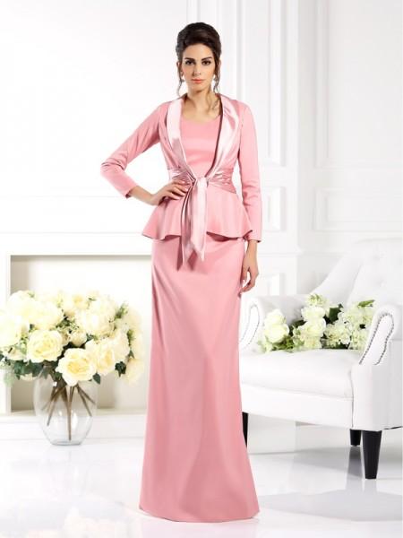 Fourreau Col carré Sans Manches Longue Satin stretch Robes des mères des mariés