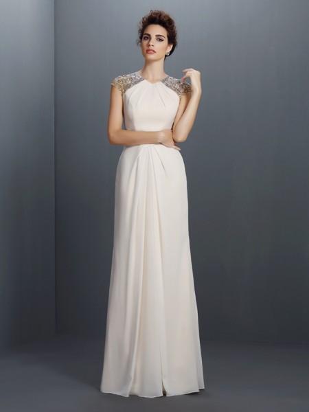 Trapèze/Princesse Col ras du cou Perles Sans Manches Longue Mousseline Robes