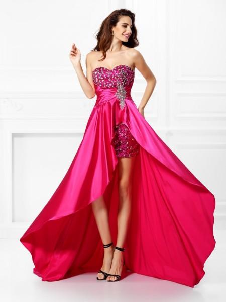Trapèze/Princesse Col en coeur Perles Sans Manches Traîne asymétrique Satin stretch Robes